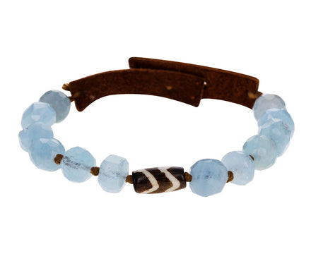 Aquamarine and Batik Horn Bracelet - TWISTonline