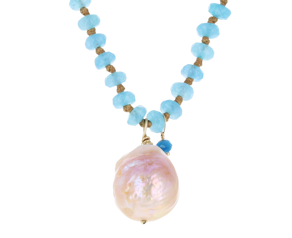 Blue Agate and Champagne Pearl Necklace