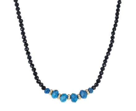 Black Spinel and Apatite Beaded Necklace