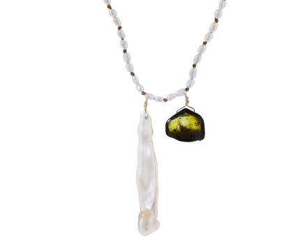 Pearl and Green Watermelon Tourmaline Pendant Necklace - TWISTonline