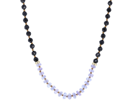 Black Garnet and Tanzanite Beaded Necklace