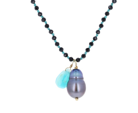 Black Spinel, Tahitian Pearl and Peruvian Opal Necklace