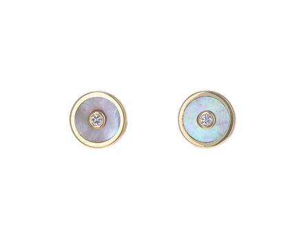White Mother-of-Pearl and Diamond Mini Compass Studs