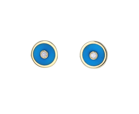 Turquoise Mini Compass Stud Earrings