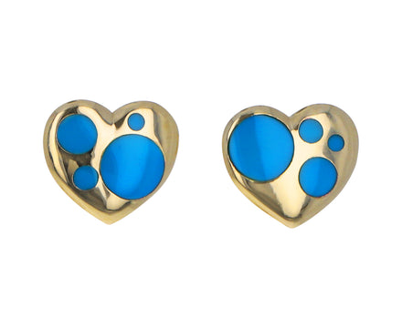 Mini Turquoise Inlay Polka Dot Heart Stud Earrings