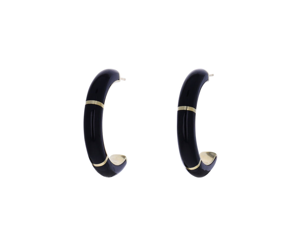 Onyx Inlay Alchemy Hoop Earrings