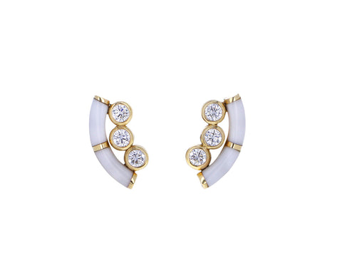 White Onyx and Diamond Alchemy Stud Earrings