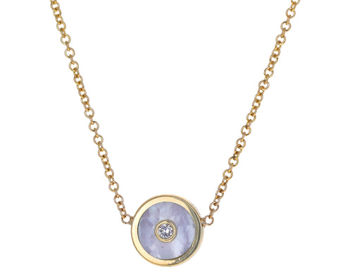White Mother-of-Pearl Mini Compass Necklace