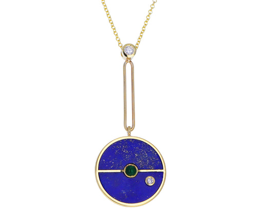 Lapis, Diamond and Emerald Compass Pendant Necklace