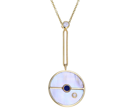 Mother-of-Pearl, Sapphire and Diamond Compass Pendant Necklace