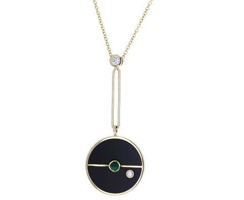 Black Onyx, Diamond and Emerald Compass Pendant Necklace