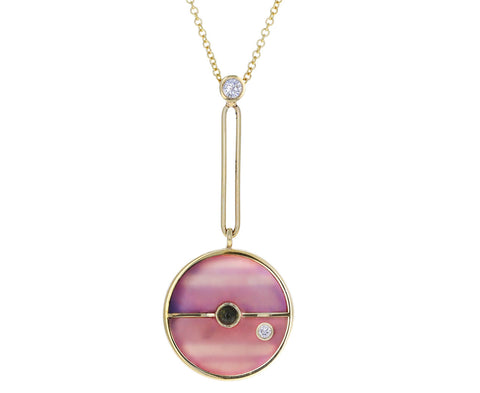 Pink Opal, Diamond and Green Tourmaline Compass Pendant Necklace