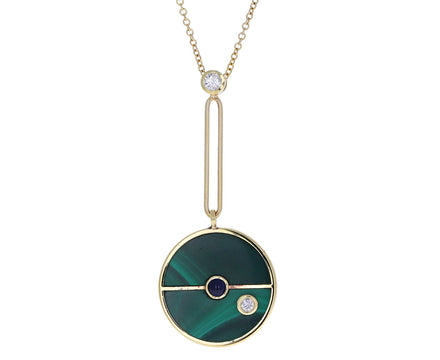 Malachite, Sapphire and Diamond Compass Pendant Necklace