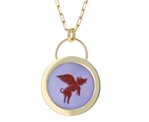 Double Layer Flying Pig Fantasy Padlock Necklace