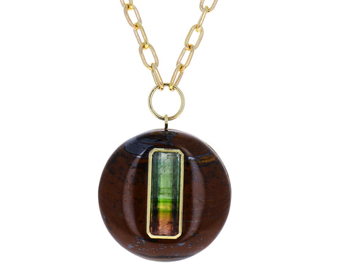 Tigers Eye and Watermelon Tourmaline Lollipop Necklace