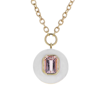 Small White Quartz and Morganite Lollipop Necklace