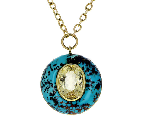 Turquoise and Butter Yellow Tourmaline Lollipop Necklace