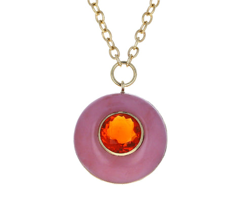 Retrouvai Pink Opal and Fire Opal Small Lollipop Pendant Necklace