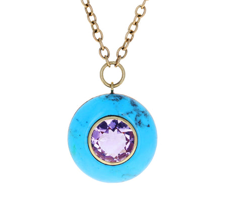 Turquoise and Amethyst Lollipop Pendant Necklace