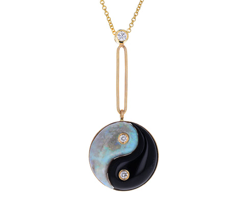 Black Onyx and Opal Yin Yang Pendant Necklace