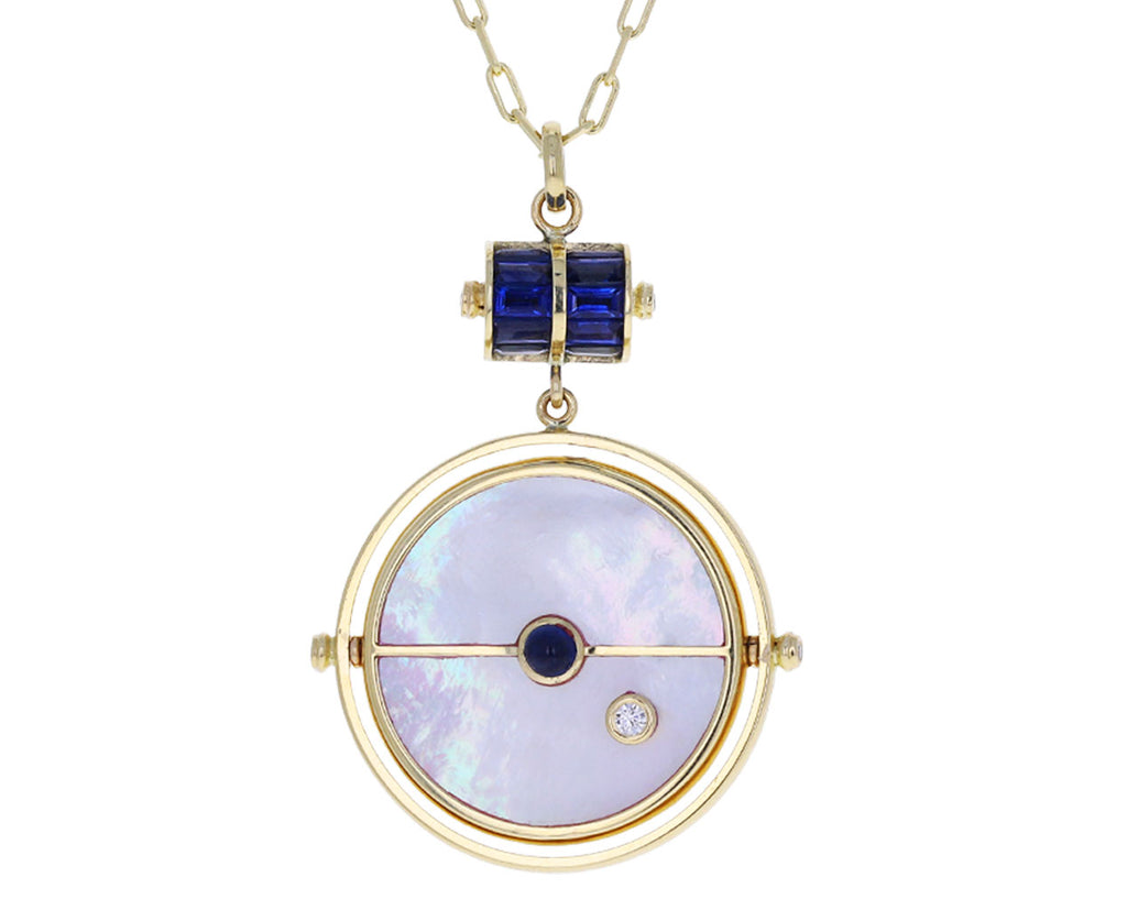 Mother-of-Pearl, Blue Sapphire and Diamond Grandfather Compass Pendant Necklace