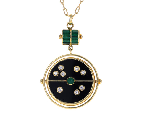 Black Onyx, Emerald and Diamond Grandfater Compass Pendant Necklace