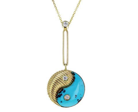 Turquoise and Gold Yin Yang Pendant Necklace