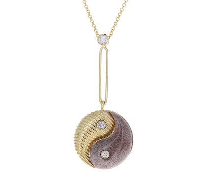 Petrified Wood and Gold Yin Yang Pendant Necklace