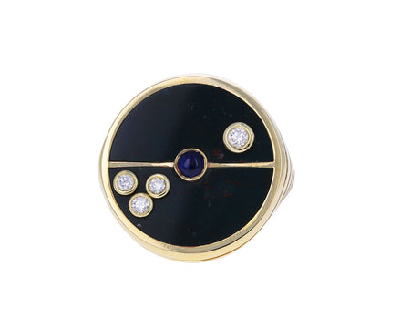 Heliotrope, Diamond and Blue Sapphire Compass Ring