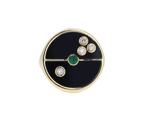 Black Onyx, Diamond and Emerald Compass Ring