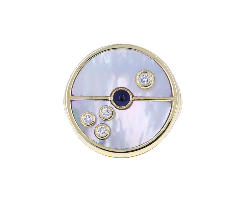 Mother-of-Pearl, Diamond and Sapphire Compass Ring