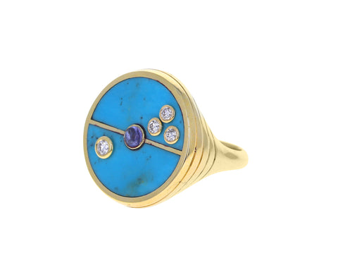 Turquoise, Diamond and Tanzanite Compass Ring