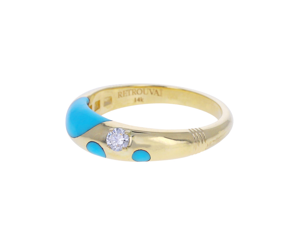 Petite Turquoise and Diamond Polka Dot Bombe Ring