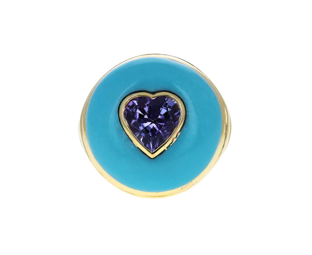 Turquoise and Tanzanite Heart Small Lollipop Ring