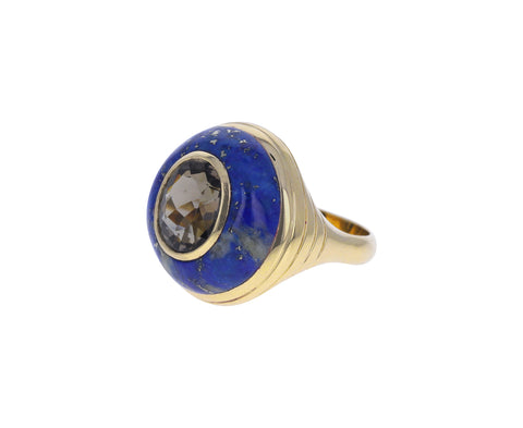 Lapis and Gray Tourmaline Small Lollipop Ring