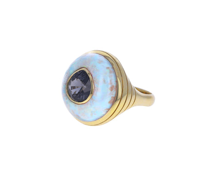Opal and Blue Spinel Small Lollipop Ring