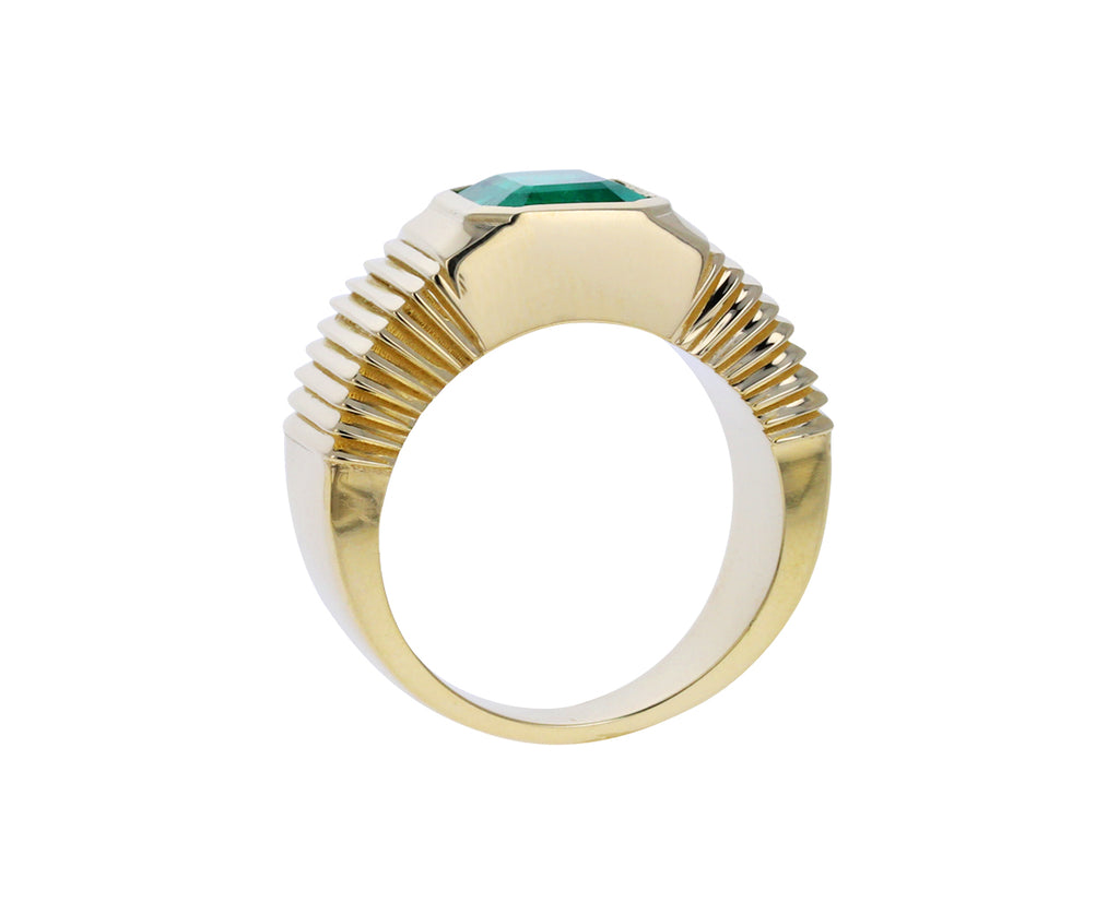 Emerald Pleated Solitaire Band