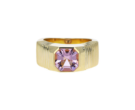 Asscher Cut Morganite Pleated Solitaire Band