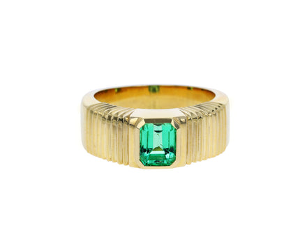 Emerald Cut Emerald Pleated Solitaire Band