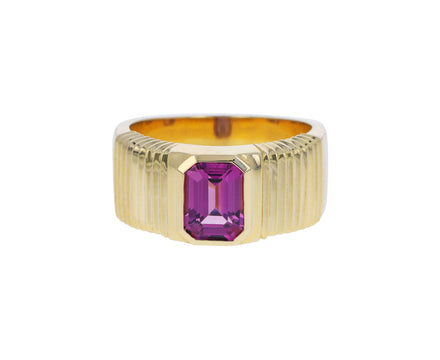 Emerald Cut Pink Sapphire Pleated Solitaire Band