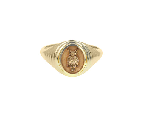 Tiered Owl Fantasy Signet Ring