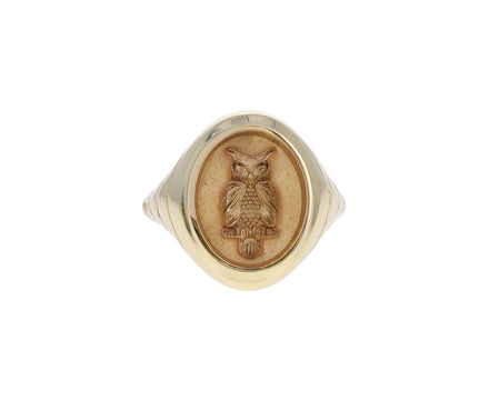 Grandfather Fantasy Owl Signet Ring