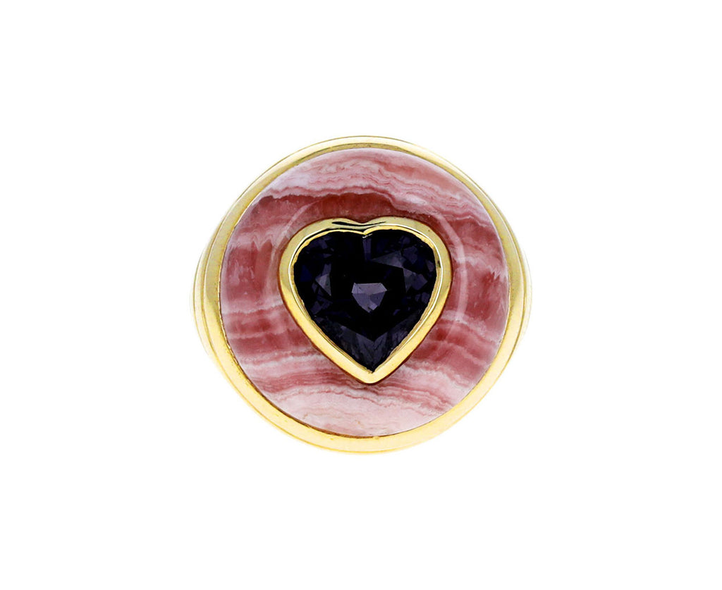 Rhodochrosite and Spinel Heart Small Lollipop Ring