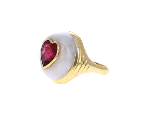 White Quartz and Rubellite Heart Small Lollipop Ring
