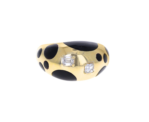 Black Onyx and Diamond Polka Dot Bombe Ring