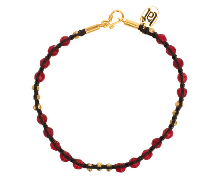 Raspberry Quartz and Brass Bead Bracelet - TWISTonline