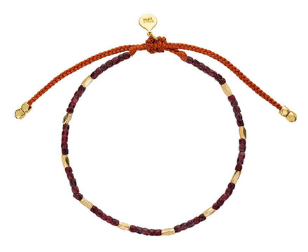 Red Glass and Gold Bead Bracelet - TWISTonline