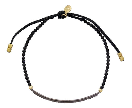 Black Agate Bead and Crystal Bar Bracelet - TWISTonline