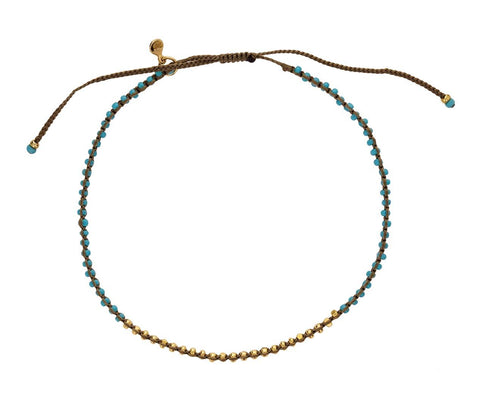 Beaded Turquoise and Gold Bracelet - TWISTonline