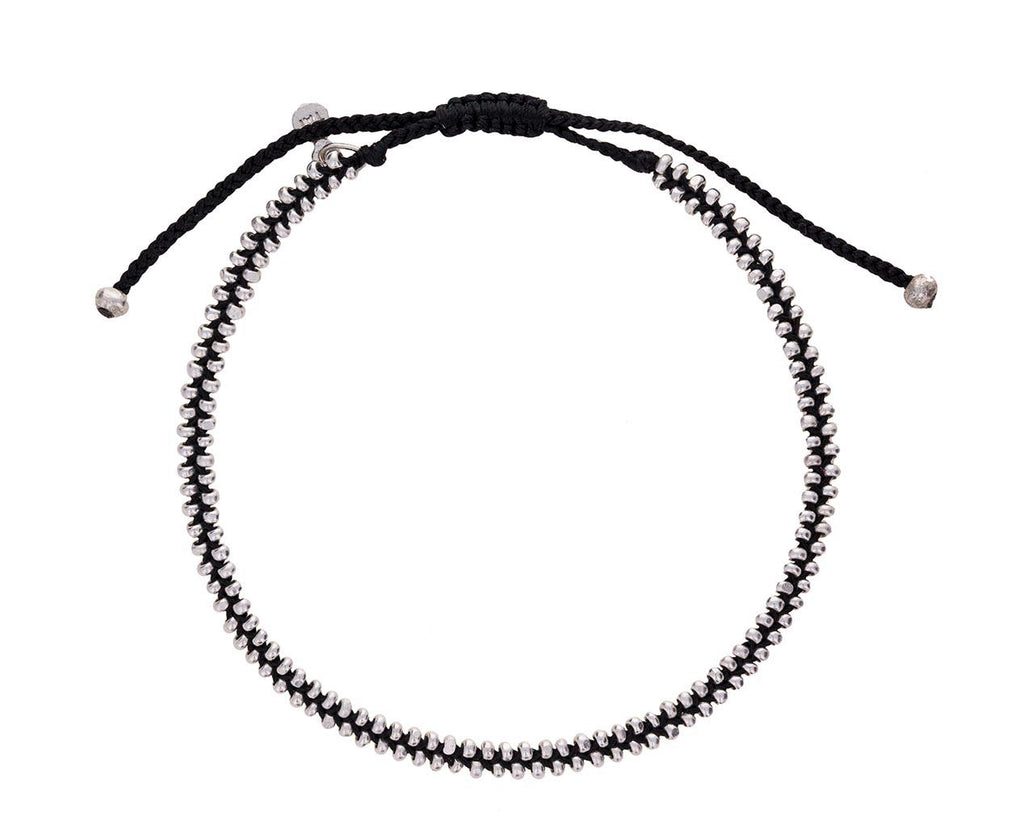 Black Nylon and Silver Beaded Bracelet - TWISTonline
